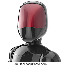 Cyborg black robot bot android futuristic character avatar -...