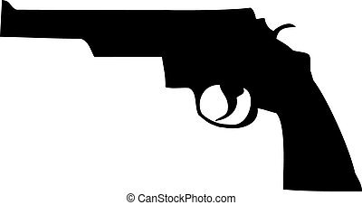 Revolver - This is a black silhouette of a revolver