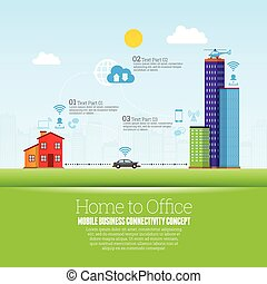Home to Office - Vector illustration of home to office cloud...