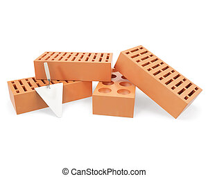 Brick with trowel for construction, erection of buildings -...