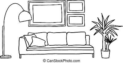 couch and blank picture frames, vec
