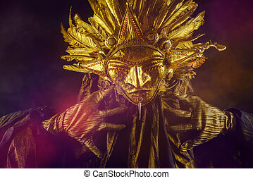 sun mask - Metaphorical idea of the sun. Folklore. Paganism,...