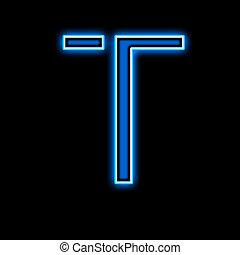 Neon letter T blue