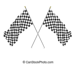 Black and White racing flag isolated on a white background...