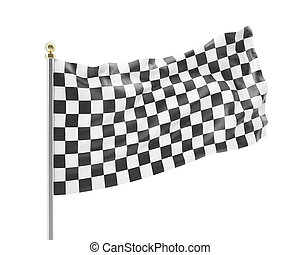 racing flag isolated on a white background. - Black and...
