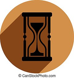 Classic sand-glass illustration, antique hourglass placed in...