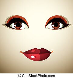 Attractive woman with stylish bright make-up Sexy Caucasian...