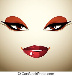 Face makeup, lips and eyes of an attractive woman displaying...