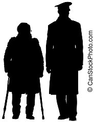 Elderly woman - Elderly people with cane one white...