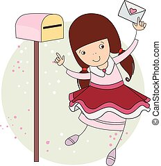 Girl with a letter. vector illustration for your design,...