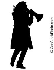 Women with megaphone - Young woman with a megaphone