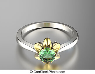 Ring with emerald Jewelry background