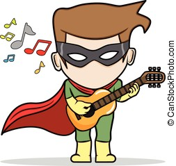 Super Guitarist - An illustration of a superhero playing a...