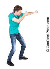 back view of skinny guy funny fights waving his arms and...