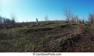 Abandoned cemetery - Camera over an old abandoned cemetery...