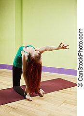 Backbend with hand stretched out - Backbend yoga position...