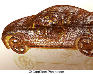 Car model with reflection 3d illustration
