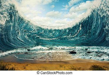 Splitting the ocean - Surreal image of ocean waves reaching...