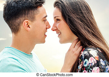 Close up of couple showing affection - Close up portrait of...