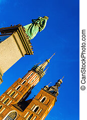 St Marys church and statue Mickiewicz, Krakow - St Marys...