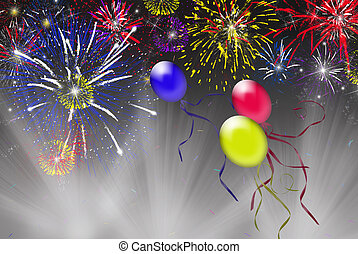 Big Event - Fireworks and balloons in light beams.