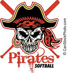 pirates softball design with skull and crossed bats