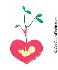love seed - Baby into a red heart that turns into a tree on...