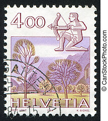 Sagittarius - SWITZERLAND - CIRCA 1984: stamp printed by...