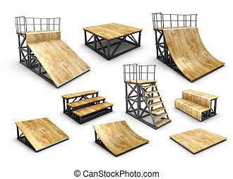 Set of skatepark element isolated on white background. 3d...