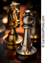 Chess figures on the playing board - Set of chess figures on...