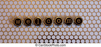 Welcome Sign - welcome sign with metal mesh behind the...