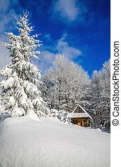 Mountain hut in winter landscape woods - Mountain hut in...