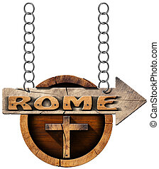 Rome - Wooden Sign with Cross - Pilgrimage wooden...
