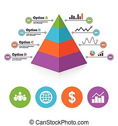 Business signs Graph chart and globe icons - Pyramid chart...
