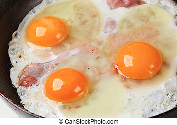 Preparing ham and eggs in a frying pan