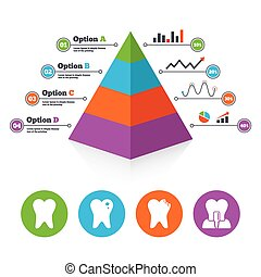 Dental care icons Caries tooth and implant - Pyramid chart...