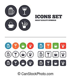 Drinks signs. Coffee cup, glass of beer icons. - Drinks...