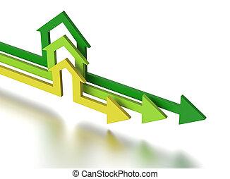House shape arrows. Business concept.