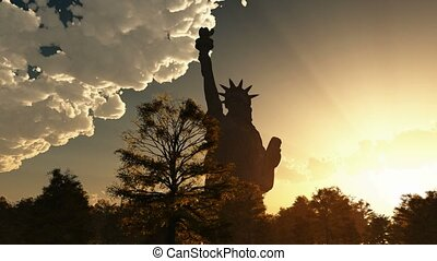 Statue of Liberty and cloudy sky - Statue of Liberty on the...