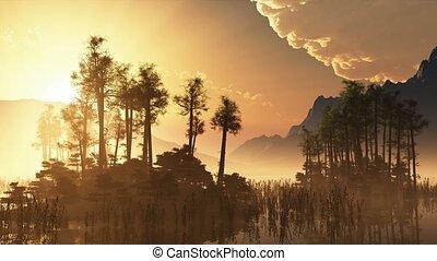 trees on mountain lake islands