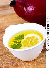 Lemon balm tea closeup