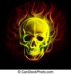 Skull fractal ornament background with airbrush coloor...