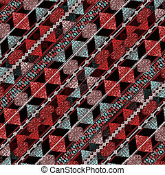 Geometric Grunge Pattern - Colorful tribal grunge style...