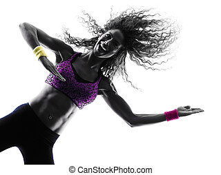 woman zumba dancer dancing exercises silhouette - one...