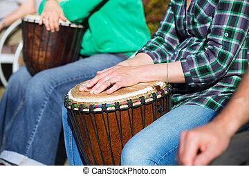 アフリカ, 女, ドラム, 遊び,  jambe