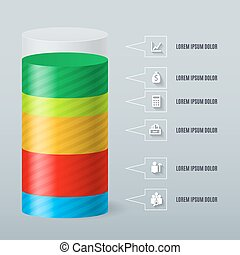 Infographics as a split color cylinder Schedule Business...