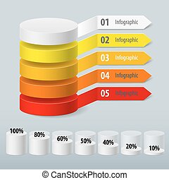 Infographics color cylinder with paper arrows Schedule...