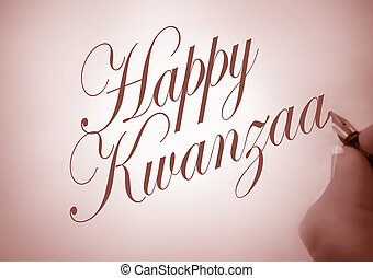 Callligraphy Happy Kwanzaa - Person writing Happy Kwanzaa in...