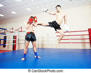 muai thai fighting technique - muai thai sportsman fighting...