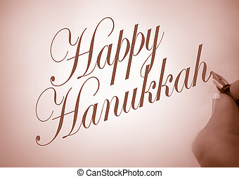Callligraphy Happy Hanukkah - Person writing Happy Hanukkah...